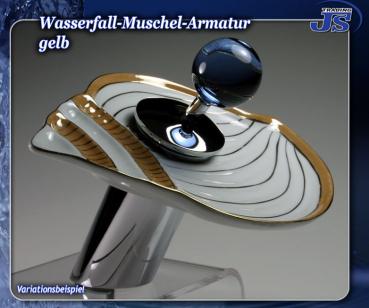 Porzellan muschel wasserfall einhebelmischer porzelan waschtisch armatur js trading gmbh shop - Wasserfall armatur ...
